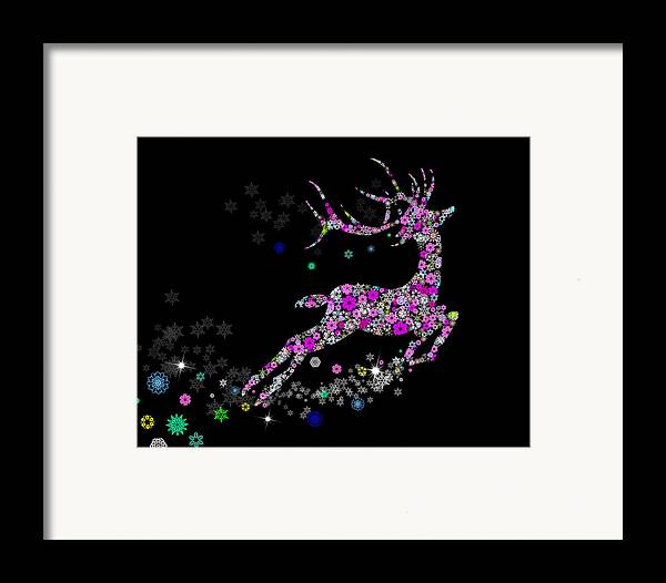 Animal Framed Print featuring the painting Reindeer Design By Snowflakes by Setsiri Silapasuwanchai
