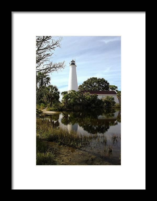 Color Photograph Framed Print featuring the photograph St. Mark's Lighthouse by Wayne Denmark