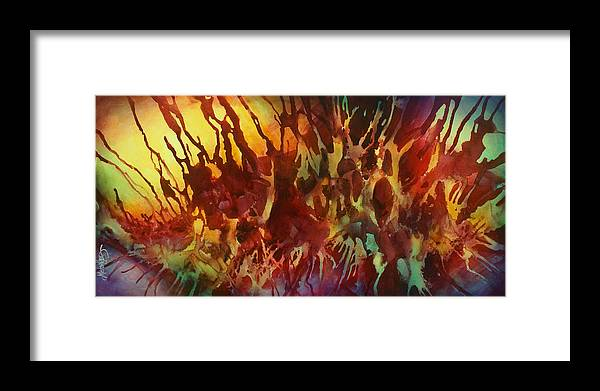 Abstract Framed Print featuring the painting Untitled by Michael Lang