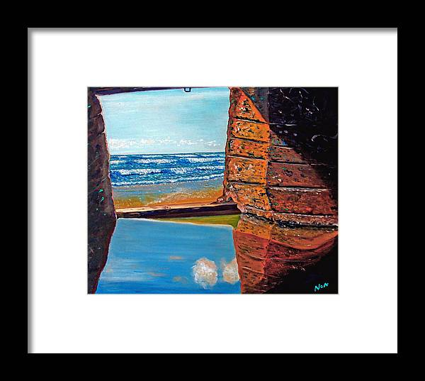 Seascape Framed Print featuring the painting 60 Years After ...- 2000 by Aymeric NOA