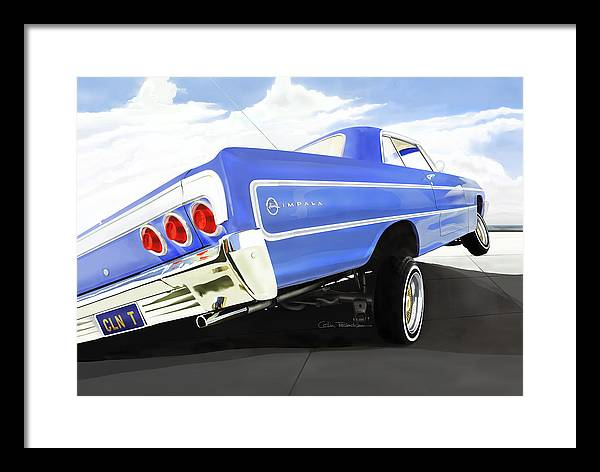 Lowrider Framed Print featuring the digital art 64 Impala Lowrider by Colin Tresadern
