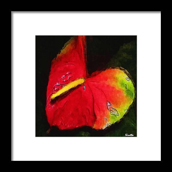 Flower In Poster Framed Print featuring the digital art 6.5 Heart  Artwork In Poster by Andrea N Hernandez