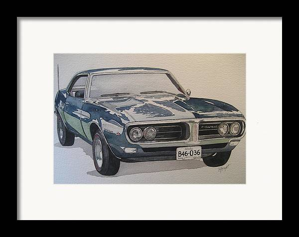 Muscle Car Framed Print featuring the painting 68 Firebird Sprint by Victoria Heryet