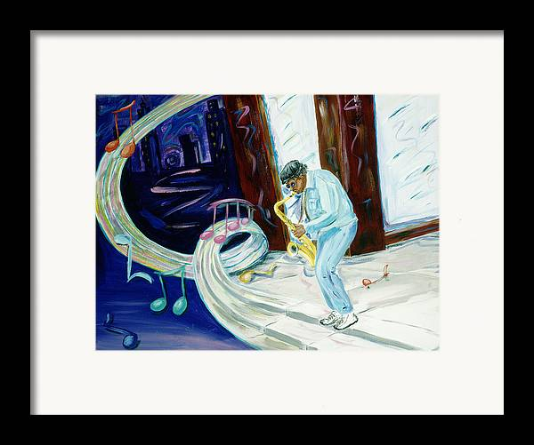 Kevin Callahan Framed Print featuring the painting 6th Avenue Blues by Kevin Callahan