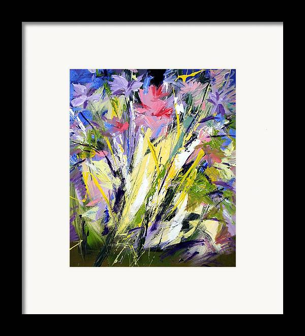 Abstract Flowers Framed Print featuring the painting Abstract Flowers by Mario Zampedroni