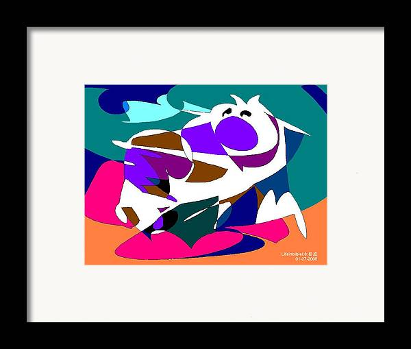 Dog Framed Print featuring the painting Abstract by Victoria Wang