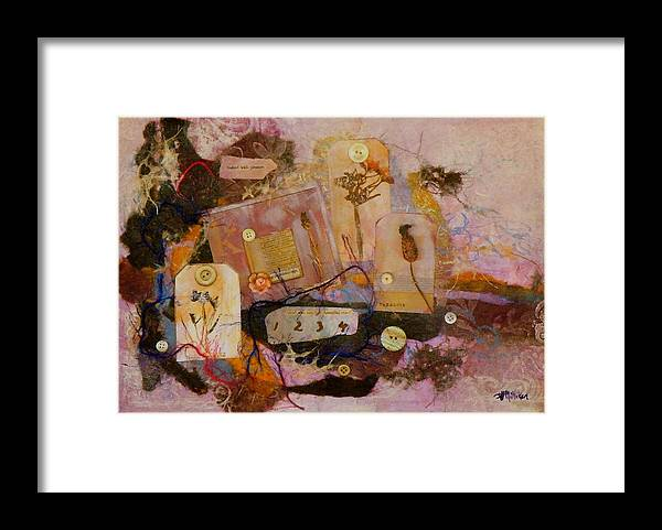 Mixed Media Framed Print featuring the painting 7 Buttons by Tara Milliken