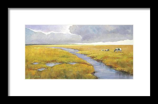 Landscape Framed Print featuring the painting Misty Landscape by Lucio Campana
