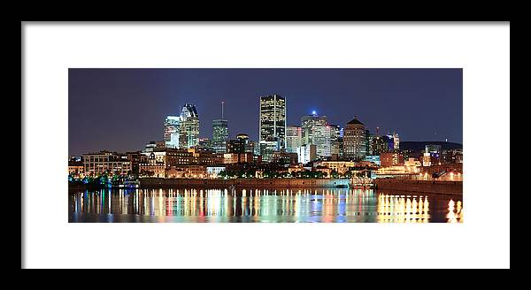 Montreal Framed Print featuring the photograph Montreal Over River At Dusk by Songquan Deng