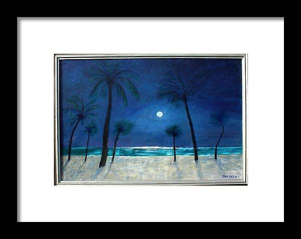 Sand Framed Print featuring the painting 7 Moonlight Palms by Paul O Shaskan