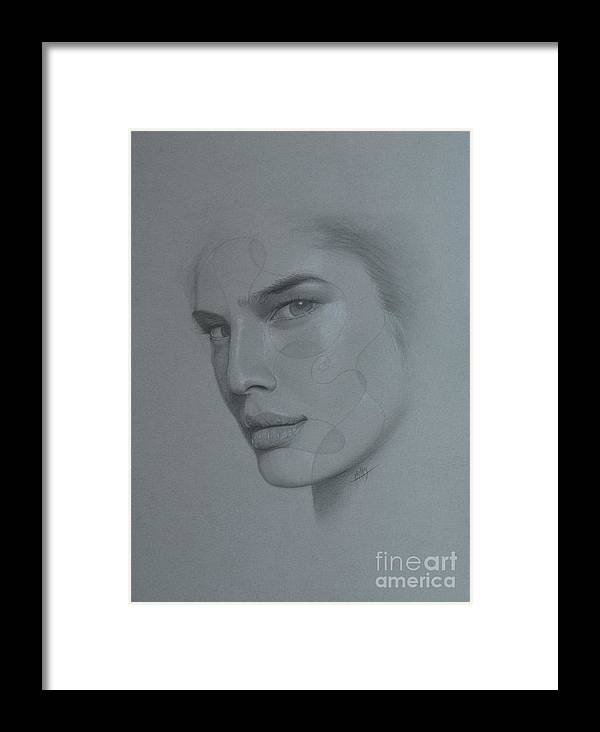 Face Framed Print featuring the drawing No Title by Marek Halko