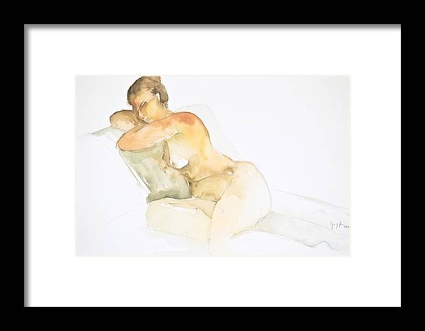 Framed Print featuring the painting Nude Series by Eugenia Picado