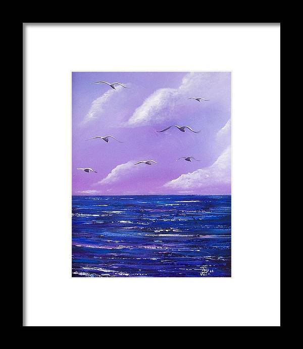 Seascape Framed Print featuring the painting 7 Seabirds by Tony Rodriguez