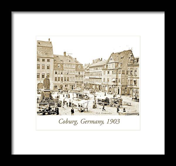 Street Framed Print featuring the photograph Street Market, Coburg, Germany, 1903, Vintage Photograph by A Gurmankin