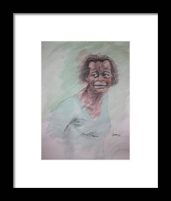 Portrait Framed Print featuring the drawing Untitled 7 by Victor Amor