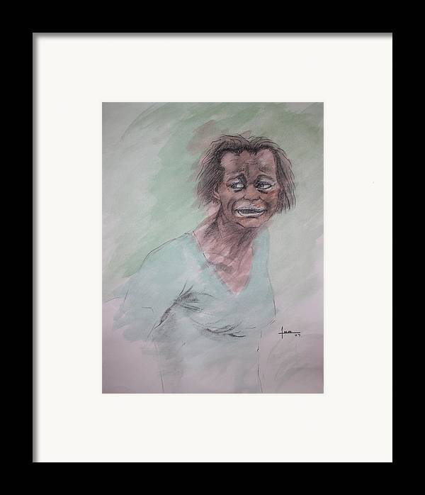 Portrait Framed Print featuring the drawing Untitled by Victor Amor
