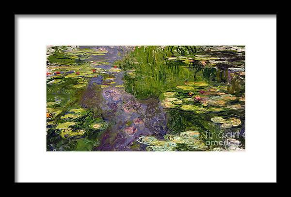 Nympheas; Water; Lily; Waterlily; Impressionist; Green; Purple Framed Print featuring the painting Waterlilies by Claude Monet