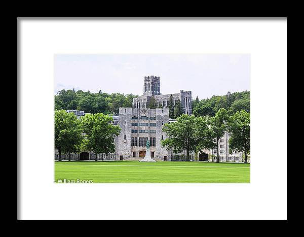 This Is A Photo Of The West Point Chapel On The Hill Behind The Dinning Faculty And The Plain Framed Print featuring the photograph West Point Chapel by William Rogers