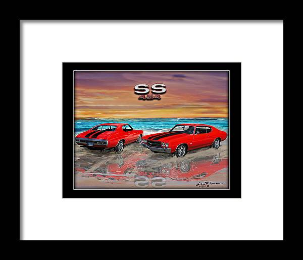 Muscle Car Framed Print featuring the painting 70 Chevell Ss 454 by John Breen