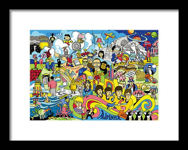 Beatles Framed Print featuring the digital art 70 illustrated Beatles' song titles by Ron Magnes