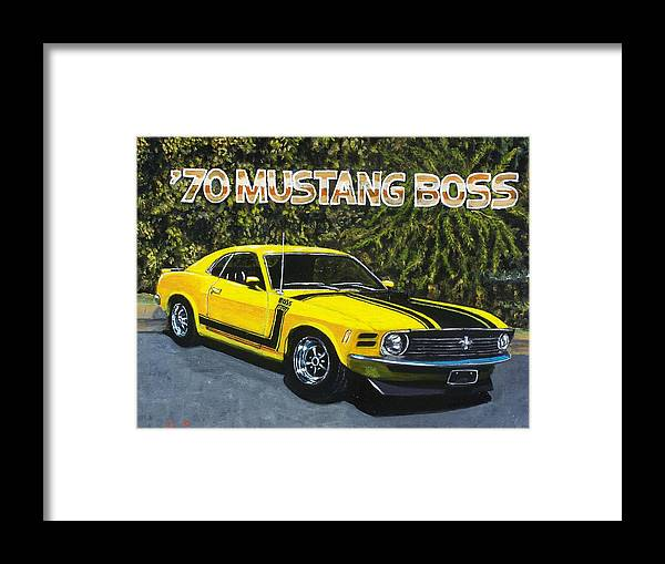 Hotrod Framed Print featuring the painting 70 Mustang Boss by Charles Vaughn