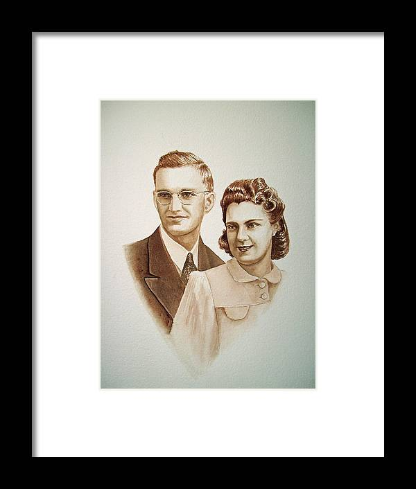 Anniversary Framed Print featuring the painting 70 Years Together by Irina Sztukowski