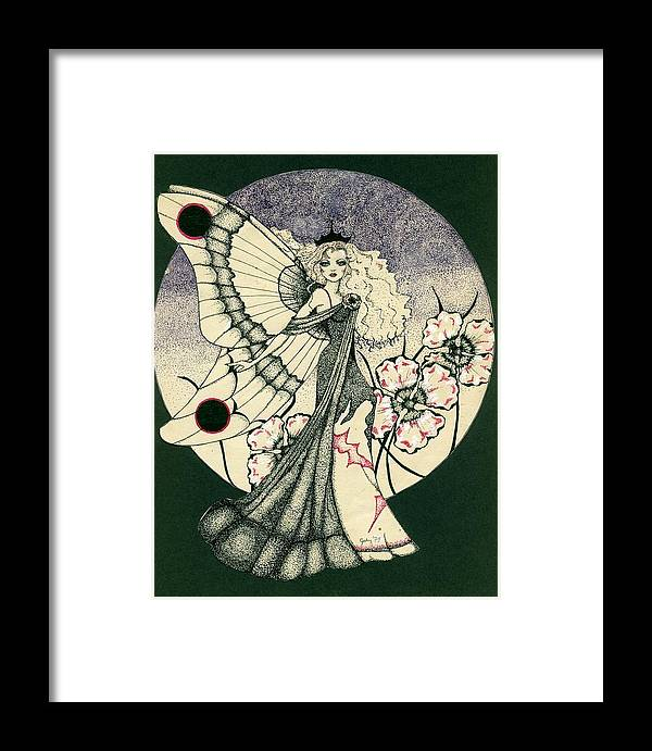 70's Style Framed Print featuring the drawing 70's Angel by V Boge