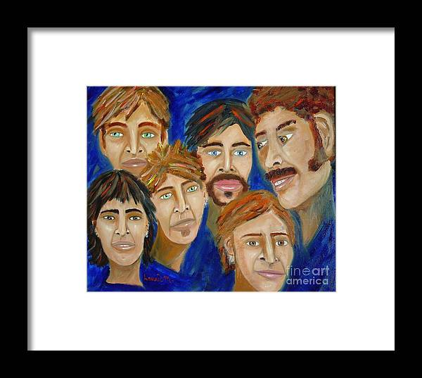Portrait Framed Print featuring the painting 70s Band Reunion by Laurie Morgan