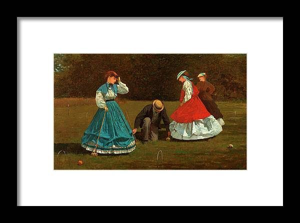 Croquet Scene Framed Print featuring the painting Croquet Scene by Winslow Homer