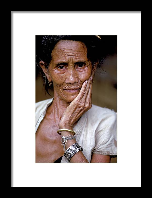 Old Framed Print featuring the photograph Elderly Woman In Laos by Carl Purcell