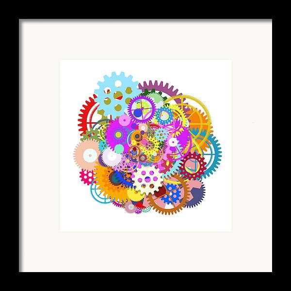 Art Framed Print featuring the painting Gears Wheels Design by Setsiri Silapasuwanchai