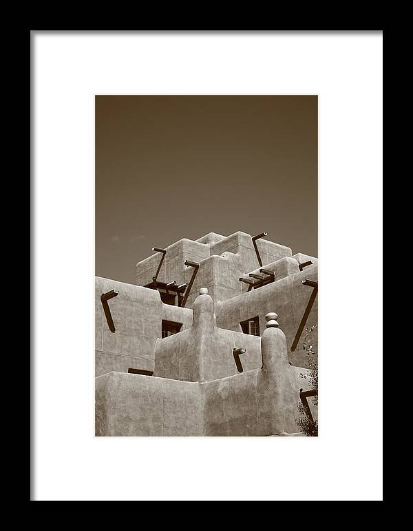 66 Framed Print featuring the photograph Santa Fe - Adobe Building by Frank Romeo