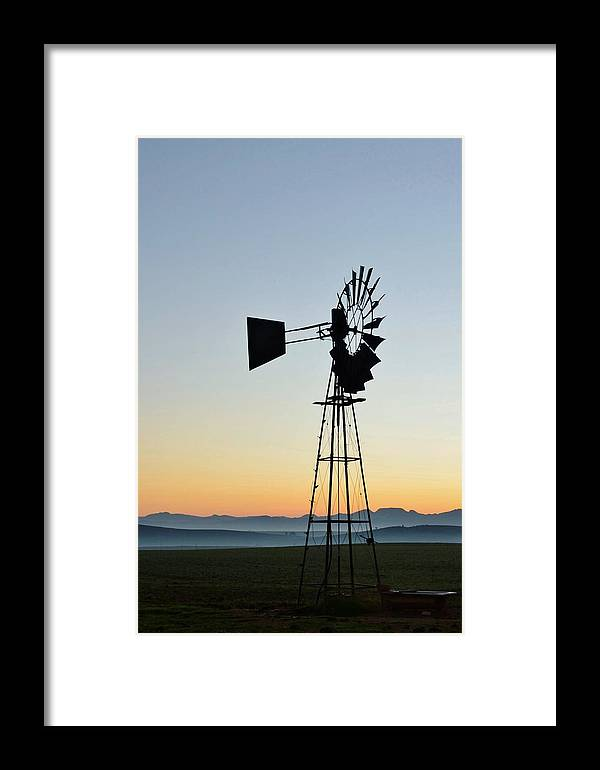 Landscape; Mountains; Hills; Early; Morning Light; Swartland; South Africa; Blue; Farmland; Fields; Orange; Sky; Windmill Water Pump; Windmill; Framed Print featuring the photograph Windmill by Werner Lehmann