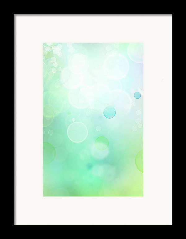 Green Framed Print featuring the digital art Abstract Background by Les Cunliffe