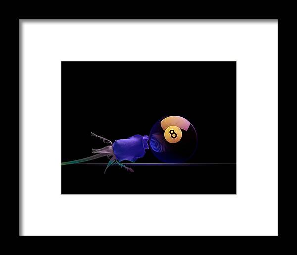 Pool Framed Print featuring the digital art 8blues by Draw Shots