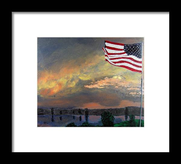 Flag Framed Print featuring the painting 9 11 2001 by Stan Hamilton