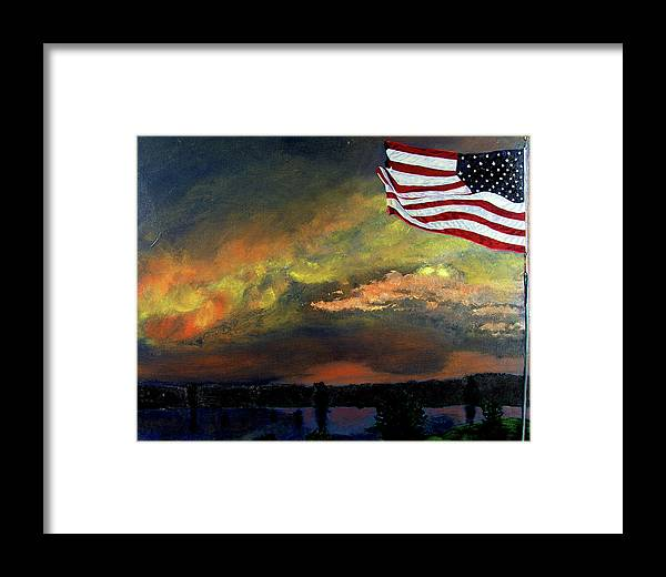 Landscape Framed Print featuring the painting 9-11 by Stan Hamilton