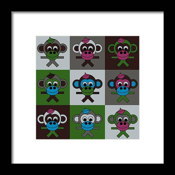 Carnival At The Zoo Framed Print featuring the digital art 9 Bernhards by Asbjorn Lonvig