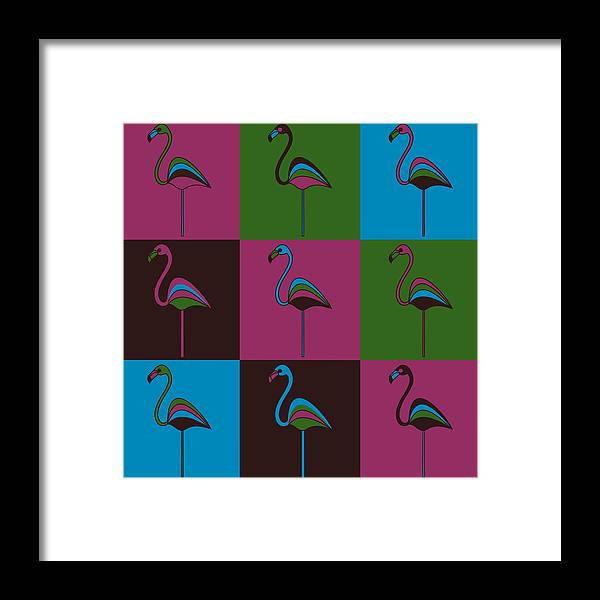 Carnival At The Zoo Framed Print featuring the pyrography 9 Flamingos by Asbjorn Lonvig