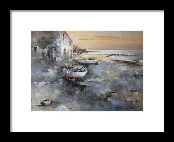 Seascape Framed Print featuring the painting Misty Landscape by Lucio Campana
