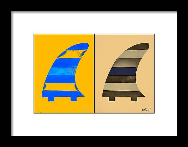 Salty Surf Fins Framed Print featuring the painting Salty Surf Fins by Barry Knauff