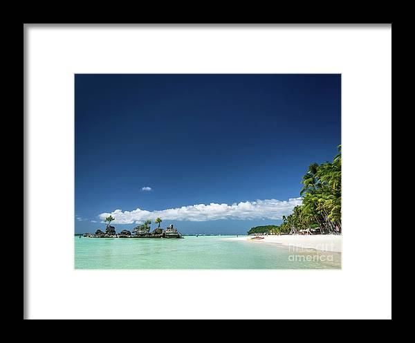 Area Framed Print featuring the photograph Station 2 Beach Area Of Boracay Tropical Paradise Island Philipp by Jacek Malipan