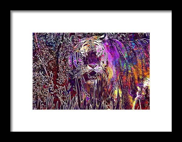 Tiger Framed Print featuring the digital art Tiger Predator Fur Beautiful by PixBreak Art