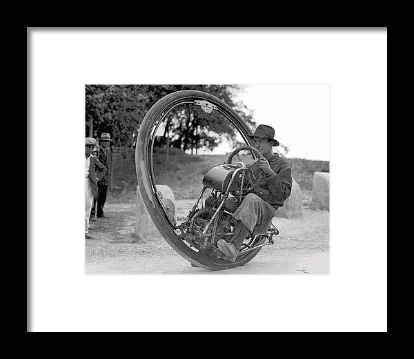 Monocycle Framed Print featuring the digital art 90 M P H Monocycle - 1933 by Daniel Hagerman