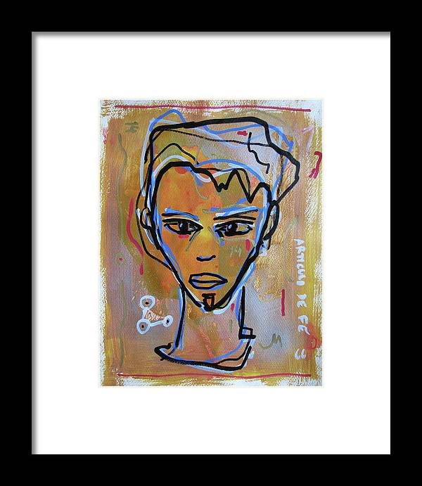 Portrait Face Mixed Media Contemporary Modern Urban Fashion Expressionism Abstract Figurative Eyes Original Painting Decorative Gift Girl Paper Watercolor Canvas Texture Acrylic Spray Paint Silhouette Street Art Drawing Painting Oil Marker Framed Print featuring the mixed media Untitled by Juan Mildenberger