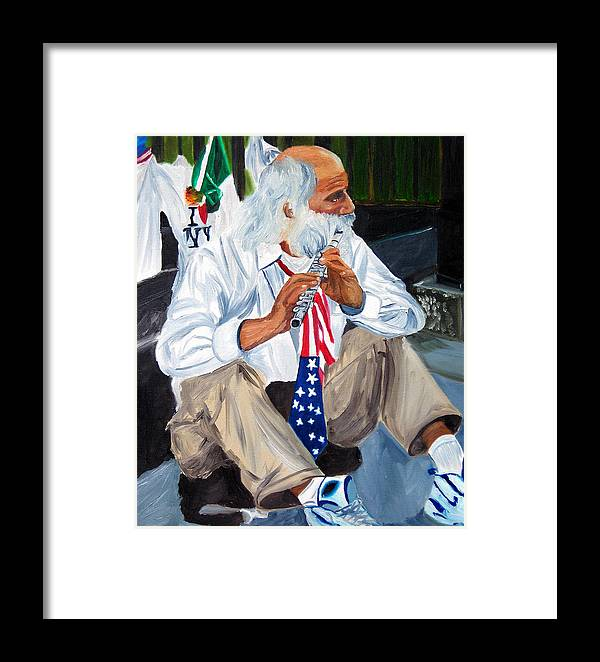 Street Musician Framed Print featuring the painting 911 Tribute by Michael Lee