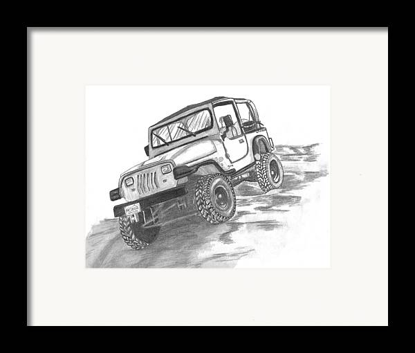 Jeep Framed Print featuring the drawing 94 Jeep Wrangler by Crystal Suppes