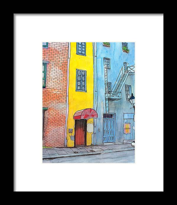 French Quarter Framed Print featuring the painting 98 French Quarter Back Alley by John Boles