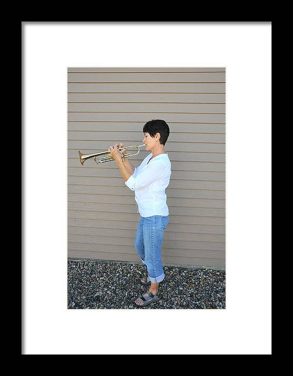 Female Framed Print featuring the photograph Jazz Musician. by Oscar Williams