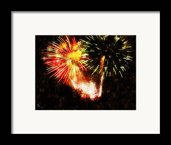 Fireworks Framed Print featuring the painting A 4th Celebration by Adam Vance